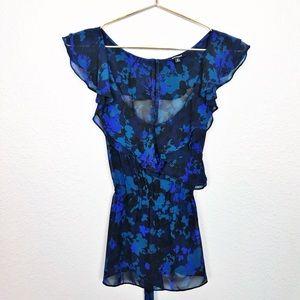 Express Royal Blue Floral Blouse